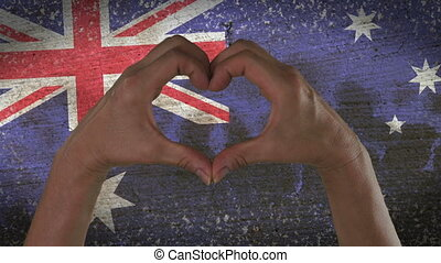 Hands Heart Symbol Australian Flag - With a stylized...