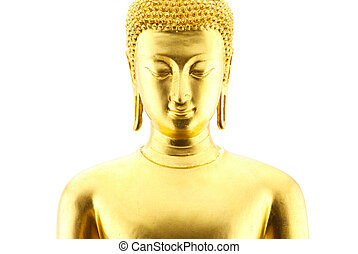 Golden buddha statue isolated on white background - Golden...