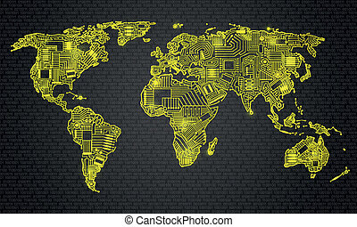 World map technology style, digital world with electronic...