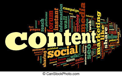 Content conept in word tag cloud - Content and Social media...