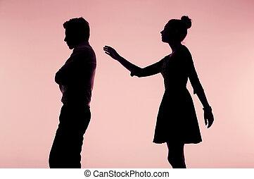 försökande, kvinna, pojkvän, henne,  apologize