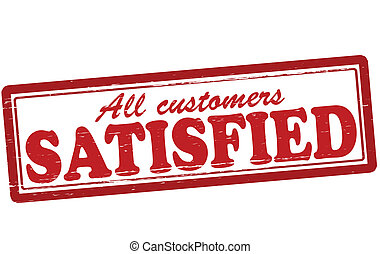 Satisfied - Stamp with word satisfied inside, vector...