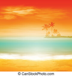 Sea sunset with island and palm trees.