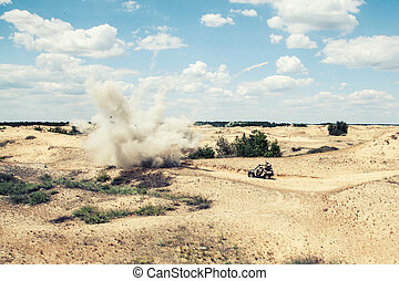 Ambush - Large explosion near the car with soldiers in the...