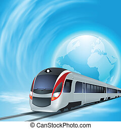 Concept background with high-speed train and the globe -...