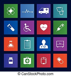 Metro style Medical Icons Collection Vector icon set EPS 10