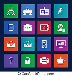 Metro style Business and office icons setVector eps 10