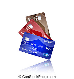 Credit cards isolated on white background. EPS10 vector.