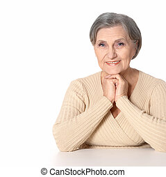 Happy elderly woman isolated on white background
