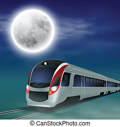 High-speed train at night with full moon. EPS10 vector.