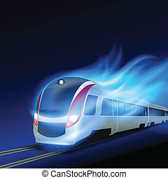 High-speed train in motion blue flame at night.