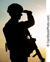 Silhouette of soldier - Silhouette of US soldier with rifle...