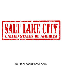 Salt Lake City-stamp - Grunge rubber stamp with text Salt...
