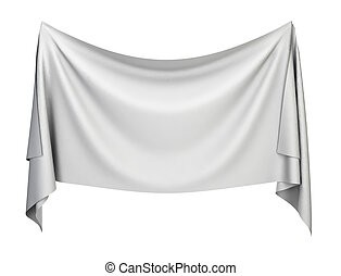 Cloth banner 3d illustration isolated on white background