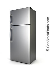 Steel fridge. 3d illustration isolated on white background
