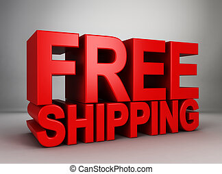 Free shipping. 3d illustration on gray background