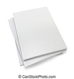 Blank magazines. 3d image isolated on white background