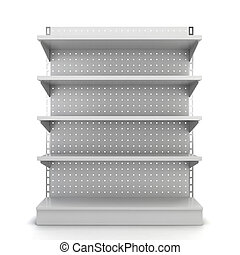 Store shelves 3d illustration isolated on white background