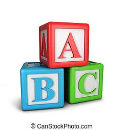 Abc blocks. 3d illustration isolated on white background
