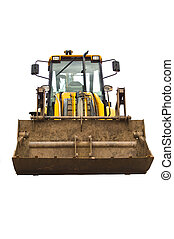 Earth mover - a front on image of a yellow rusty well used...