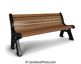 Wooden bench 3d illustration isolated on white background