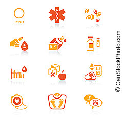 Diabetes icons || JUICY series - Diabetes health-care life...