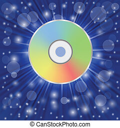 compact disc - colorful illustration with compact disc on a...