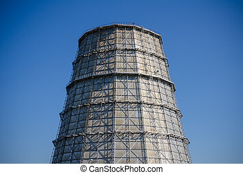 Part of thermal power plant. Water-cooling tower.