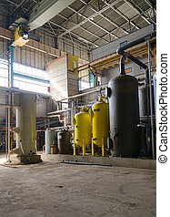 Industrial interior of heat power plant.