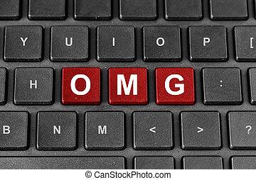 OMG or Oh My God word on keyboard - OMG or Oh My God red...