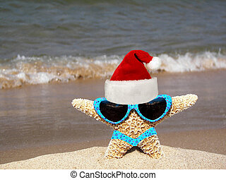 Starfish Santa - Starfish wearing a bikini,sunglasses and a...