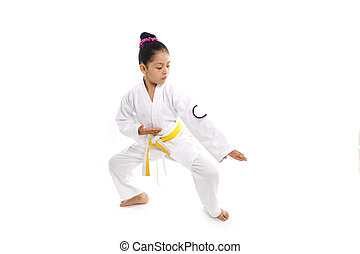 sweet latin little girl training body defence position like...