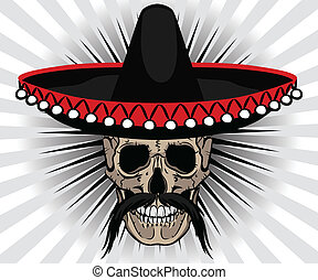 Skull Mexican style with sombrero and mustache on striped...