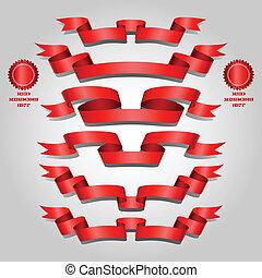 Red ribbon set - Elegance red ribbon banner blank set...
