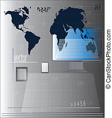 digital tablet with the screen saver earth map