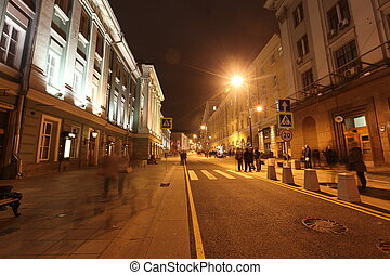 Night View of street in Moscow, Russia