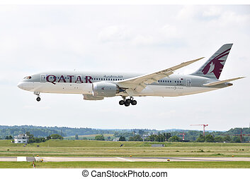 ZURICH, SWITZERLAND - MAY 25, 2014: Qatar airplane landing...