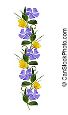 Ornamental line with wild flowers on white background