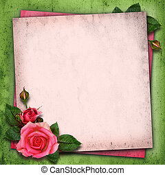 Rose flowers on vintage background - Periwinkle flowers in a...
