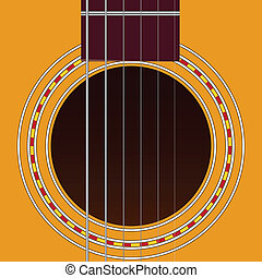 Six-string guitar - Sound hole of acoustic six-string guitar...