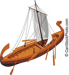 old slavic ship - vector illustration of an old slavic ship...