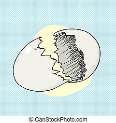 Cracked Egg on Blue