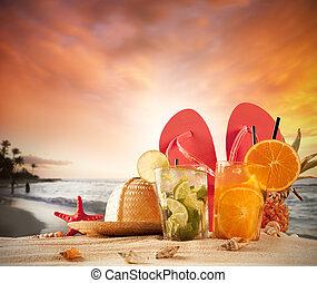 sommer,  Sandals, sandstrand, rotes, Schalen