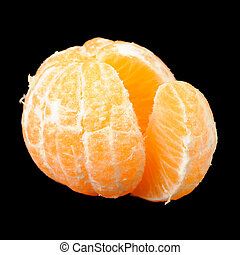 Peeled Tangerine on Black Background - A whole peeled...
