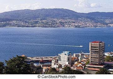 Vigo ria. - View of Vigo (Pontevedra, Galicia, Spain) and...
