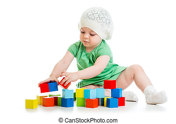 child playing toy blocks  isolated on white background