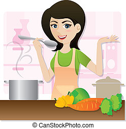 cartoon smart girl cooking vegetarian soup in kitchen -...