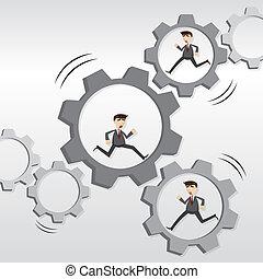 cartoon robotic businessman running on mechanical gear -...
