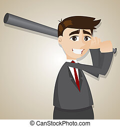 cartoon businessman with baseball bats