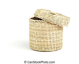 straw cylinder box with cap isolated